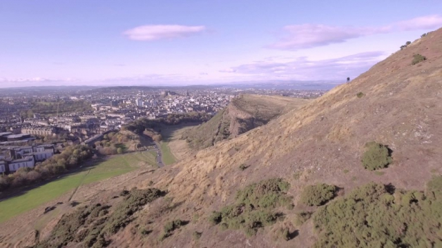 Aerial views of Arthur's Seat and Salisbury Crags, Edinburgh