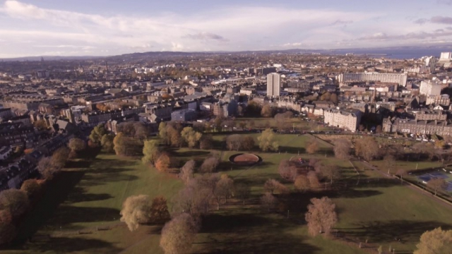 Aerial views of Leith Links and East Linton