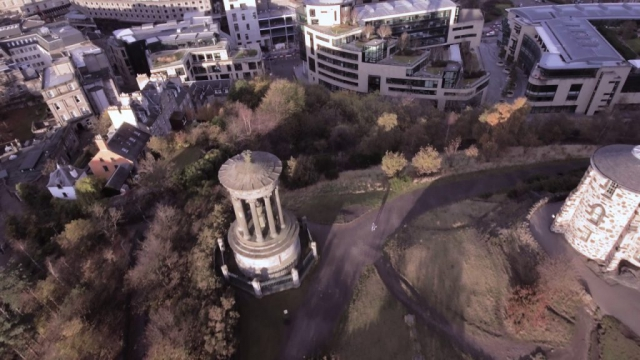 Aerials atop of Calton Hill, Edinburgh