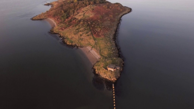 Aerial test footage over Cramond Island, Edinburgh