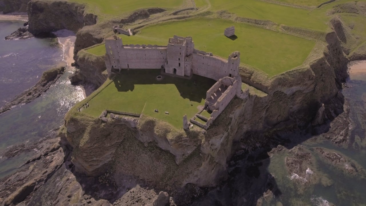 Aerial views of Seacliff beach and Tantallon Castle, North Berwick, Scotland.